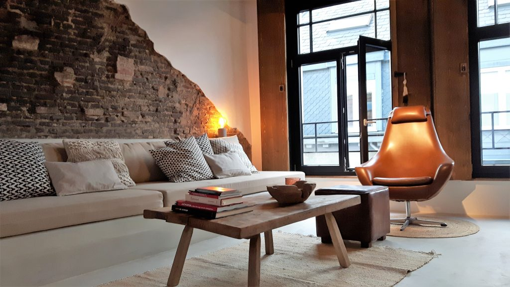 Living room of Boutique Vacation rentals home Antwerp Leeuwenstraat ç | ZaligInAntwerpen.be